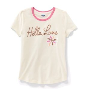 "NWT Cream ""Hello, Love"" Short Sleeve Top M(8)"
